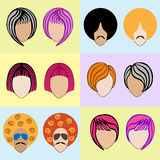 Stylish colored wigs Royalty Free Stock Images