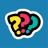 Stylish colorful cartoon sticker with question mark royalty free illustration