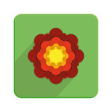 Stylish Colorful Floral Icon On Green Button Stock Images