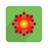 Stylish Colorful Floral Icon On Green Button Stock Photography