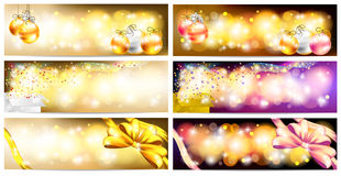 Stylish Colorful and golden abstract magic Christmas night. Celebration with present box, balls, ribbon, light and sales ornament banner badge background vector illustration