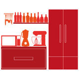 Stylish Colorful Kitchen Elements On Background Royalty Free Stock Images