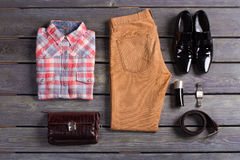 Stylish and colorful men's clothes. Stock Images