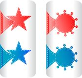 Stylish colorful set labels in the form of stars Stock Photography