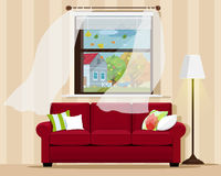 Stylish comfortable room interior with sofa, lamp, window and autumn landscape. Flat style. Royalty Free Stock Images
