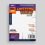 Stylish comic book cover page design template. Vector stock illustration