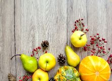 Stylish composition of pumpkins, autumn fruits and berries. Top view on wooden background. Autumn flat lay Stock Photography