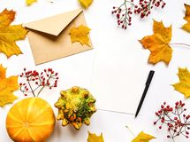 Stylish composition of letter, pumpkins, autumn leaves, berries. Top view on white background. Autumn flat lay Royalty Free Stock Photo