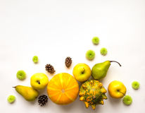 Stylish composition of pumpkins, fruits, flowers, cones. Top view on white background. Autumn flat lay Royalty Free Stock Photos