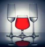 Stylish composition of three glasses Stock Images