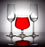 Stylish composition of three glasses Stock Photos