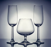 Stylish composition of three glasses Royalty Free Stock Photo