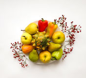 Stylish composition of vegetables, fruits, autumn berries. Top view on white background. Autumn flat lay Stock Photos