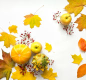 Stylish composition of vegetables, fruits, autumn leaves, berries. Top view on white background. Autumn flat lay Stock Photo