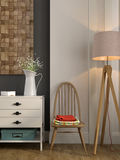 Stylish composition with a white chest of drawers and a chair Stock Photography