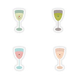 Stylish concept paper sticker glass champagne Ring Stock Photos