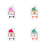 Stylish concept paper sticker on white background cart Christmas gift Stock Photo