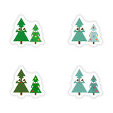 Stylish concept paper sticker on white background Christmas Trees Royalty Free Stock Image