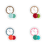 Stylish concept paper sticker on white background clock Christmas balls Royalty Free Stock Photography