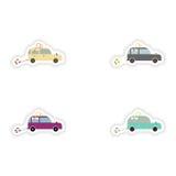 Stylish concept paper sticker on white background  Honeymoon car Stock Photography