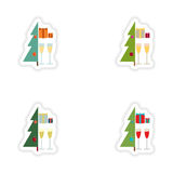 Stylish concept paper sticker on white background Tree gifts glasses Royalty Free Stock Photo
