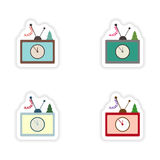 Stylish concept paper sticker on white background TV Christmas Tree Stock Image