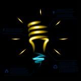 Stylish conceptual neon digital light bulb idea Stock Photography