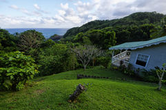 The stylish cottage, Dominica island. CASTLE BRUCE, DOMINICA - JANUARY 4, 2017 - The stylish cottage on west coast of Dominica island on January 4, 2017. Castle royalty free stock images