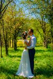 Stylish couple in love portrait, Newlywed husband and wife in circlet of flowers hugging near tree outdoors, summer nature concept stock images