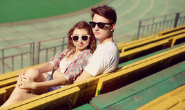 Stylish couple in love, vintage photo hipsters. In the city stock photo