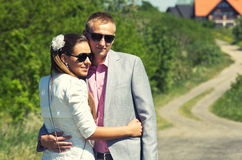 Stylish couple outdoors Royalty Free Stock Images