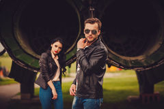 Stylish couple outdoors. focus on man Stock Images