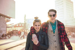 Stylish couple on the outdoors Royalty Free Stock Photos