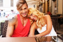 Stylish couple outdoors Royalty Free Stock Photography
