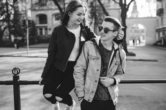 Stylish couple on the streets Stock Photography
