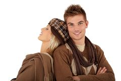 Stylish couple in winter clothes Stock Photography
