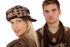 Stylish couple in winter clothes Stock Images