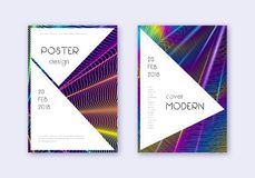 Stylish cover design template set. Rainbow abstrac. T lines on dark blue background. Fantastic cover design. Good-looking catalog, poster, book template etc vector illustration