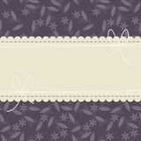 Stylish cover with purple floral background and bows Stock Image