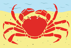 Stylish Crab On a Beach Royalty Free Stock Photos