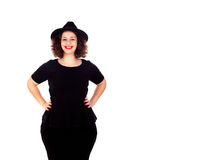 Free Stylish Curvy Girl With Black Hat And Dress Stock Images - 84476664
