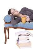 Stylish Cute Girl Fell Asleep after Studying Royalty Free Stock Photo