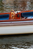 Stylish cutter boat on a Dutch canal Stock Image