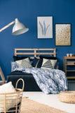 Stylish cyan bedroom royalty free stock photo