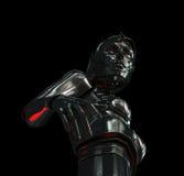 Stylish cyber girl on black. Unusual futuristic metal cyborg woman from bottom view Stock Photos