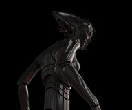 Stylish cyber girl on black. Elegant 3d robotic woman isolated on black Royalty Free Stock Photo