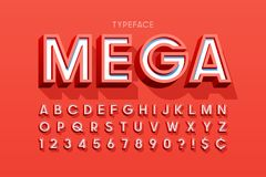 Stylish 3d display font design, alphabet, letters and numbers Royalty Free Stock Photo