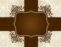 Stylish damask pattern frame / border Royalty Free Stock Photo