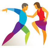 Stylish dance of two professional dancers Royalty Free Stock Photography