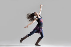 Stylish dancing young woman portrait royalty free stock photo